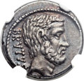 Ancients:Roman Republic, Ancients: M. Junius Brutus, as moneyer (54 BC). AR denarius (18mm, 4.17 gm, 7h)....