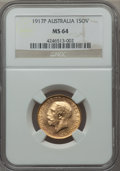 Australia: George V gold Sovereign 1917-P MS64 NGC