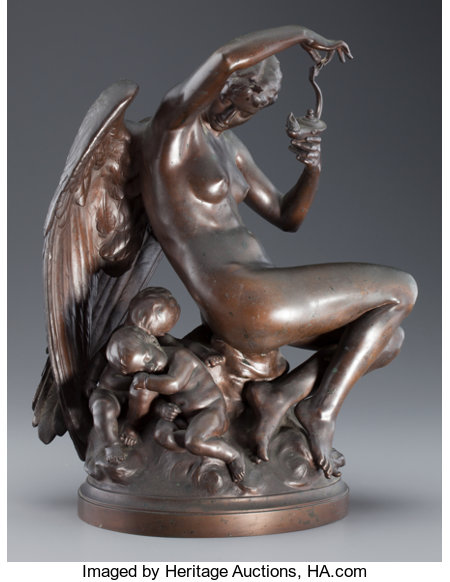 Emilie Boisseau (French, 1842-1923)Le Crépuscule, 1880Bronze with brown patina17 inches (43.2 cm) highInscribed ...