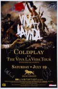 Music Memorabilia:Autographs and Signed Items, Coldplay Signed Poster MGM Grand Hotel Las Vegas (2008)....