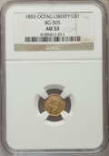 California Fractional Gold , 1853 $1 Liberty Octagonal 1 Dollar, BG-505, R.4, AU53 NGC. NGCCensus: (1/23). PCGS Population (4/80). ...