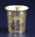 Silver Holloware, Continental:Holloware, A Russian Silver and Niello Cup. Unknown maker, Moscow, Russia.1846. Silver, silver gilt, niello. Marks: M.., A.K ove...