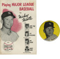 "Baseball Collectibles:Others, Mickey Mantle PM10 Stadium Pin with Pamphlet. This tough vintage 31/4"" stadium pin with yellow background is offered here ..."