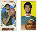 Basketball Cards:Lots, 1969-71 Topps Lew Alcindor Lot of 2. These oversized gems featurethe legendary seven-footer and are his first two Topps car...