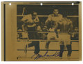 Boxing Collectibles:Autographs, Muhammad Ali Signed Photograph With Ali/Holmes Wire Photographs Lotof 13. This group of wire photos chronicles Ali's 1980 ...