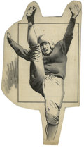 Football Collectibles:Others, Football Illustration Original Art. Fine vintage ink illustration depicts a football punter seeming as if he is about to so...