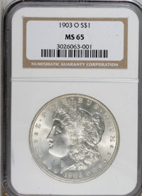 1903-O $1 MS65 NGC. NGC Census: (1091/319). PCGS Population (1726/535). Mintage: 4,450,000. Numismedia Wsl. Price for NG...