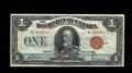 Canadian Currency: , DC-25g $1 1923. A dark red overprint is found on this $1. VeryFine....