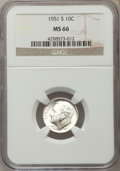 Roosevelt Dimes, 1951-S 10C MS66 NGC. NGC Census: (594/635). PCGS Population (996/328). Mintage: 31,630,000. Numismedia Wsl. Price for probl... (Total: 10 item)