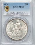 Trade Dollars, 1874 T$1 MS61 PCGS Secure....