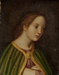 Fine Art - Painting, European:Antique  (Pre 1900), Italian School (19th Century). Virgin with Green Mantle. Oil on panel. 10-1/4 x 8-1/8 inches (26 x 20.6 cm). PROPERTY ...