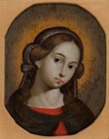 Fine Art - Painting, European, Spanish School (19th Century). The Young Madonna. Tempera onpanel. 12 x 9 inches (30.5 x 22.9 cm). PROPERTY FROM A PR...