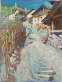 MIAN SITU (Chinese/American, b. 1953) Homestead Path Oil on canvas 16 x 12 inches (40.6 x 30.5 cm