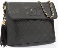 """Luxury Accessories:Bags, Chanel Black Quilted Lambskin Flap Bag With Gold Hardware. 11""""Width x 8"""" Height x 3"""" Depth. Good to Very GoodConditi..."""