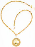 """Luxury Accessories:Accessories, Chanel Gold CC Medallion Necklace. 2"""" Width x 32"""" Length.Very Good Condition. ..."""