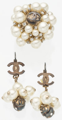 Chanel Set of Two; Glass Pearl & Silver Crystal Drop Earrings and Glass Pearl and Silver Crystal Ring With Gold Hard...
