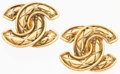"Luxury Accessories:Accessories, Chanel Quilted Gold CC Earrings. Very Good Condition. 1""Width x 1"" Length. ..."