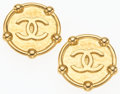 "Luxury Accessories:Accessories, Chanel Gold Hammered Metal CC Logo Earrings. 1.5"" Width x 1.5""Length. Very Good to Excellent Condition. ..."