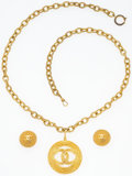 """General Americana: , Chanel Set of Two; Gold CC Medallion Necklace & Gold CC LogoEarrings . Necklace: 2"""" Width x 32"""" Length. Earrings:1""""... (Total: 2 Items)"""