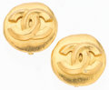 "Luxury Accessories:Accessories, Chanel Gold Brushed Metal CC Logo Earrings. .5"" Width x .5""Length. Very Good to Excellent Condition. ..."