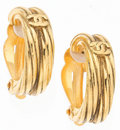 "Luxury Accessories:Accessories, Chanel Gold Twisted Earrings. Very Good to ExcellentCondition. 0.25"" Width x 1"" Length. ..."
