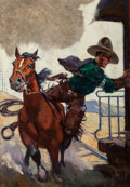 Pulp, Pulp-like, Digests, and Paperback Art, Sidney H. Riesenberg (American, 1885-1971). Catching the Train,Western Story pulp magazine cover, October 11, 1924. Oil...