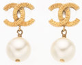 "Luxury Accessories:Accessories, Chanel Glass Pearl & Gold CC Earrings. .5"" Width x 1"" Drop. Very Good Condition. ..."