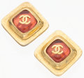 "Luxury Accessories:Accessories, Chanel Pink Glass & Gold CC Earrings. 1"" Width x 1""Length. Very Good Condition. ..."