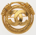 "Luxury Accessories:Accessories, Chanel Gold Hammered Metal CC Logo Pin . 2"" Width x 2""Length. Excellent Condition. ..."