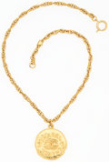 "Luxury Accessories:Accessories, Chanel Hammered Gold Medallion Necklace. 1"" Width x 16""Length. Very Good to Excellent Condition. ..."