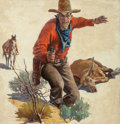 Pulp, Pulp-like, Digests, and Paperback Art, George Wert (American, 20th Century). Cowboy with Dead Steer andGun, Western Story pulp magazine cover, August 14, 1926...