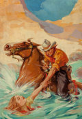 Pulp, Pulp-like, Digests, and Paperback Art, American Artist (20th Century). Perilous Pastures, Western Storypulp magazine cover, April 4, 1936. Oil on canvas. 33 x...