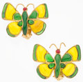 "Luxury Accessories:Accessories, Chanel Green & Yellow Gripoix Butterfly Earrings. Very Goodto Excellent Condition. 1.75"" Width x 1.5"" Height. ..."