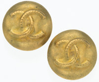 """Chanel Gold CC Earrings Very Good to Excellent Condition 0.75"""" Width x 0.75"""" Length"""