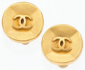 "Luxury Accessories:Accessories, Chanel Gold CC Earrings. Very Good to Excellent Condition.0.75"" Width x 0.75"" Height. ..."