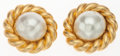 "Luxury Accessories:Accessories, Chanel Gold & Glass Pearl Earrings. Good to Very GoodCondition. 2"" Width x 2"" Height. ..."