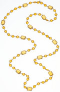 "Luxury Accessories:Accessories, Chanel Yellow Crystal & Gold Sautoir Necklace. Very GoodCondition. .5"" Width x 60"" Length . ..."
