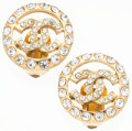 """Luxury Accessories:Accessories, Chanel Gold & Crystal CC Earrings. Very Good to ExcellentCondition. 1"""" Width x 1"""" Length. ..."""