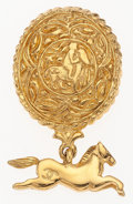 """Luxury Accessories:Accessories, Chanel Gold Horse Brooch. Excellent Condition. 1.25""""Width x 2"""" Height. ..."""