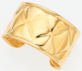 "Luxury Accessories:Accessories, Chanel Gold Quilted Cuff Bracelet. Very Good to ExcellentCondition. 1.5"" Width x 7.25"" Length. ..."