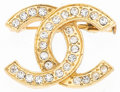 "Luxury Accessories:Accessories, Chanel Gold & Silver Crystal CC Brooch. Very Good toExcellent Condition. 1.25"" Width x 1"" Height. ..."