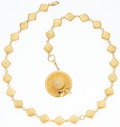 "Art Glass:Daum, Chanel Gold Necklace with Hat Pendant. Very Good to ExcellentCondition. 14"" Length. ..."