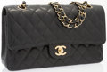 Luxury Accessories:Bags, Chanel Black Quilted Caviar Leather Classic Medium Double Flap Bagwith Gold Hardware. Very Good to Excellent Condition...