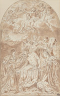 Works on Paper, Follower of Annibale Carracci. Lamentation of the Dead Christ, after Annibale Carracci. Pen and ink with brown wash on p...