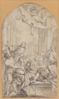 Fine Art - Work on Paper:Drawing, After Lodovico Carracci. Christ at the Pool of Bethesda.Chalk and wash heightened with white on paper. 16-1/2 x 9-3/4 i...