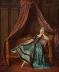 Fine Art - Painting, European:Antique  (Pre 1900), French School (19th Century). Lady in Blue . Oil on canvas.38-3/4 x 32 inches (98.4 x 81.3 cm). PROPERTY FROM A DALLA...