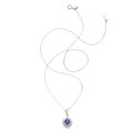 Estate Jewelry:Necklaces, Sapphire, Diamond, Platinum Pendant-Necklace. ...