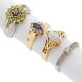 Estate Jewelry:Rings, Diamond, Sapphire, Opal, Gold, White Gold Rings. ... (Total: 4Pieces)