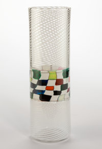 A Richard Marquis Murrina and Filigrana Glass Crazy Quilt Banded Cylinder, 1979 S