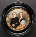 Miscellaneous:Ephemera, Round ceramic plaque of Victoria and Albert, ca. 1940. Handpaintedin the pointillism technique and installed in a round woo...